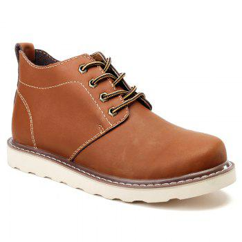 Outdoor Leisure Boots Fat Boots Thick Soled Shoes Outdoor Hiking Shoes Leather Boot - BROWN 40