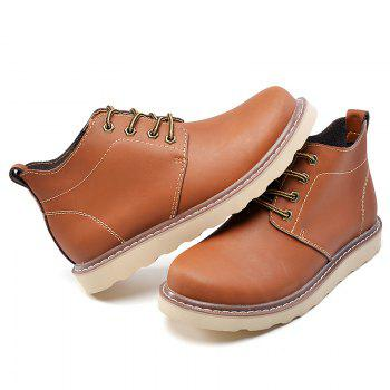 Outdoor Leisure Boots Fat Boots Thick Soled Shoes Outdoor Hiking Shoes Leather Boot - BROWN BROWN