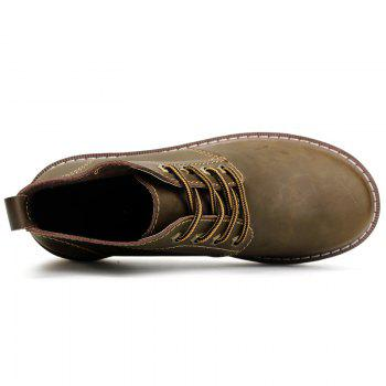 Outdoor Leisure Boots Fat Boots Thick Soled Shoes Outdoor Hiking Shoes Leather Boot - KHAKI 41