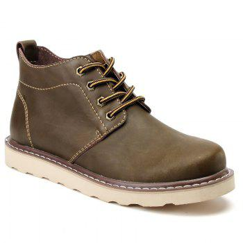 Outdoor Leisure Boots Fat Boots Thick Soled Shoes Outdoor Hiking Shoes Leather Boot - KHAKI 39
