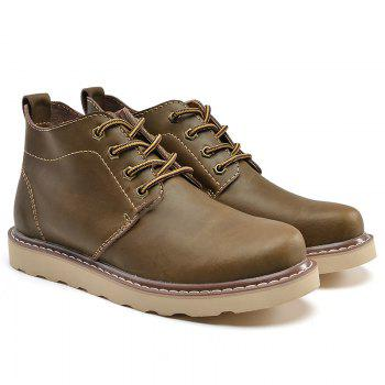 Outdoor Leisure Boots Fat Boots Thick Soled Shoes Outdoor Hiking Shoes Leather Boot - KHAKI 38