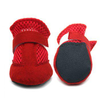 Lovoyager VSS17001 4PCS/SET Non-Slip Pet Teddy Puppy Dog Cats Casual Walking Shoes - RED L