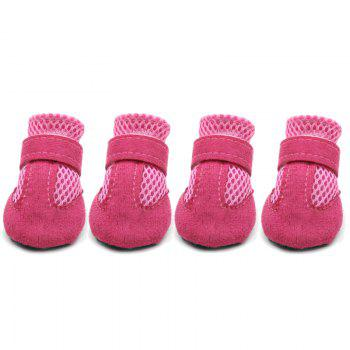 Lovoyager VSS17001 4PCS/SET Non-Slip Pet Teddy Puppy Dog Cats Casual Walking Shoes - PINK PINK