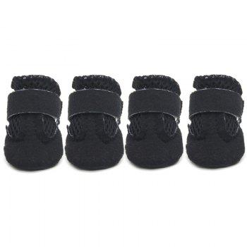 Lovoyager VSS17001 4PCS/SET Non-Slip Pet Teddy Puppy Dog Cats Casual Walking Shoes - BLACK S