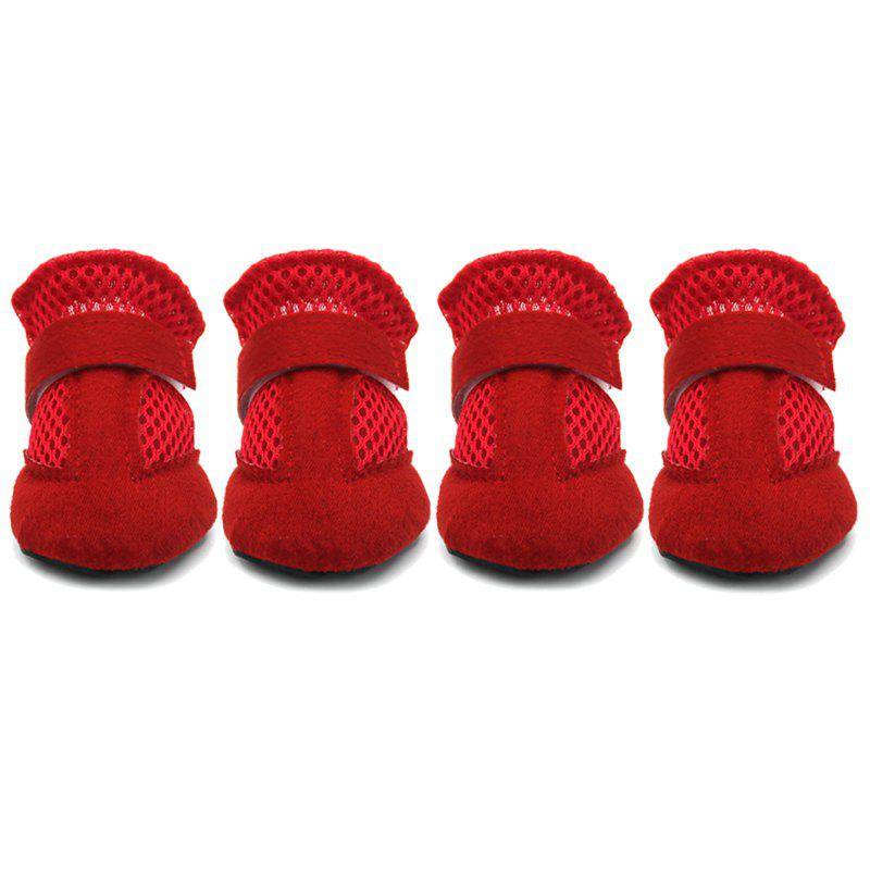 Lovoyager VSS17001 4PCS/SET Non-Slip Pet Teddy Puppy Dog Cats Casual Walking Shoes - RED S
