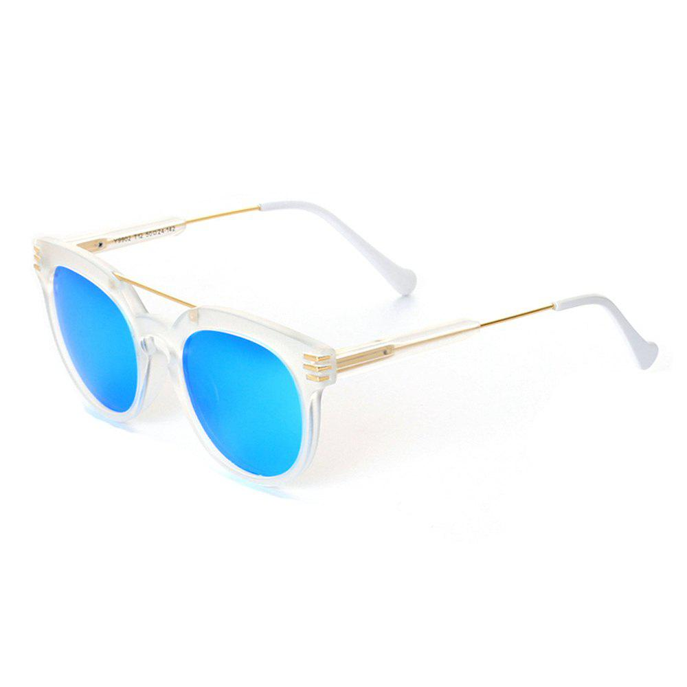TOMYE 9902 PC and Metal Unisex Fashion Polarized Sunglasses - WHITE FRAME/BLUE MERCURY LENS