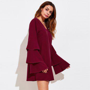Women's Clothing Three layers of sleeve Patchwork Dress - WINE RED M