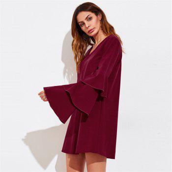 Women's Clothing Three layers of sleeve Patchwork Dress - WINE RED XL