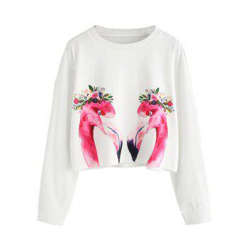 Women's Fashion Clothing  Flame Bird Printing Long Sleeve Fleece - WHITE XL