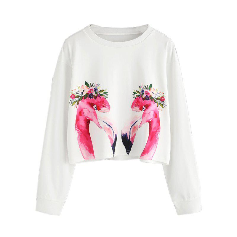 Women's Fashion Clothing  Flame Bird Printing Long Sleeve Fleece - WHITE S