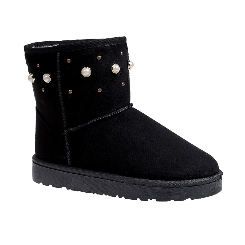 The Winter Snow Boots With Thick Velvet Flat Comfortable Warm Boots Women Shoes - BLACK 38