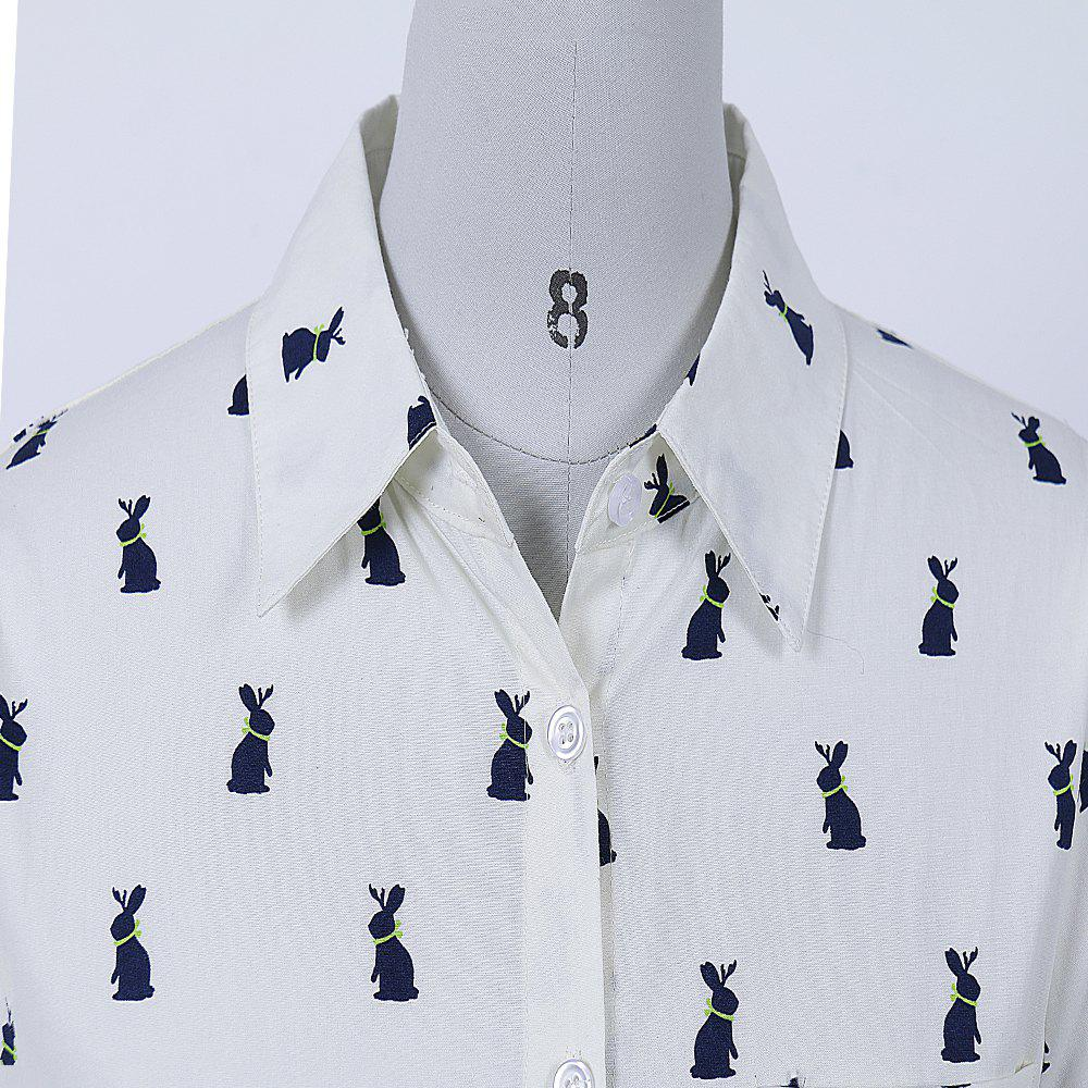 New Style Fashion Woman Autumn Rabbit Printed Relax Contton Blend turn-down collar shirt - WHITE M