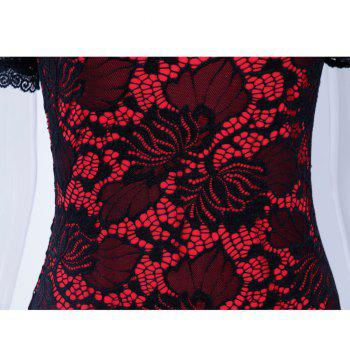 Summer Black Lace Dress 2017 half Sleeve Elegant Women Wear Casual Formal Work Party Dress - RED RED
