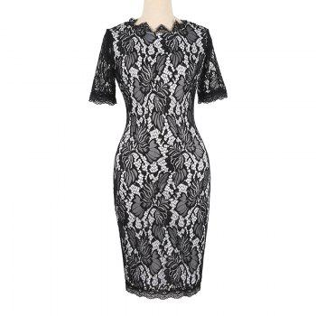 Summer Black Lace Dress 2017 half Sleeve Elegant Women Wear Casual Formal Work Party Dress - BLACK 2XL