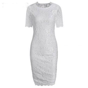 Summer Black Lace Dress 2017 half Sleeve Elegant Women Wear Casual Formal Work Party Dress - WHITE L