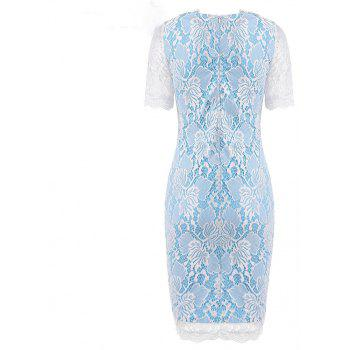 Summer Black Lace Dress 2017 half Sleeve Elegant Women Wear Casual Formal Work Party Dress - SKY BLUE L