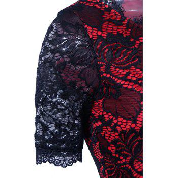 Summer Black Lace Dress 2017 half Sleeve Elegant Women Wear Casual Formal Work Party Dress - RED XL