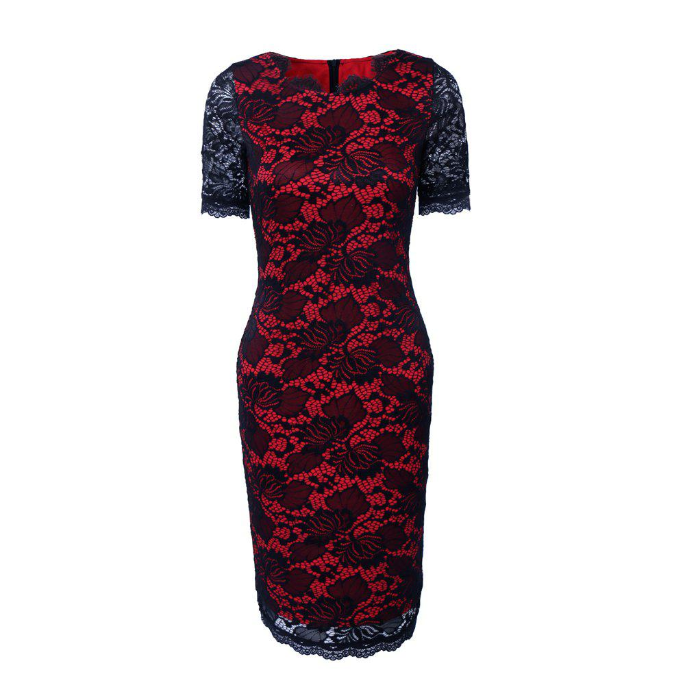Summer Black Lace Dress 2017 half Sleeve Elegant Women Wear Casual Formal Work Party Dress - RED S