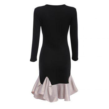 Elegant Black Long Sleeve Cotton Patchwork Cascading Ruffle Sheath Casual Party Bodycon Mini Dress Vestidos - BLACK S