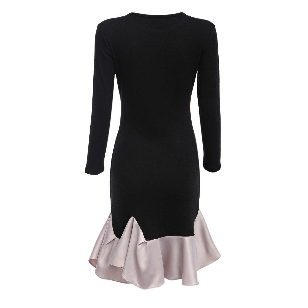Elegant Black Long Sleeve Cotton Patchwork Cascading Ruffle Sheath Casual Party Bodycon Mini Dress Vestidos - BLACK L
