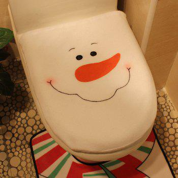 Creative Christmas Decoration 3PCS Snowman Toilet Cover Sets - WHITE