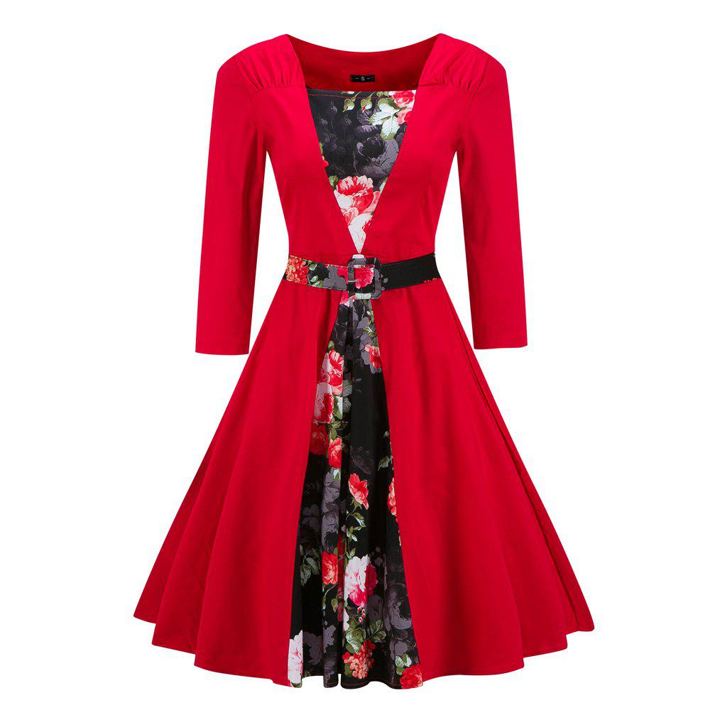 Fashion Autumn Winter Forest Girl Style Vintage Foral Print Dress with Belt new fashion autumn winter girl dress polka dot