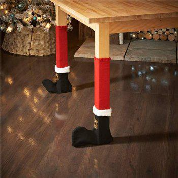 AY - hq246 4PCS Table Feet Cover Chair Feet Christmas Decoration - RED