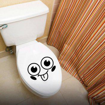 Smile Face Toilet Stickers DIY Personalized Furniture Decoration - BLACK 22 X 28CM