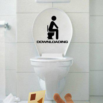 DSU Downloading Individual Toilet Sticker Bathroom Home Wall Decal - BLACK 13 X 15 CM