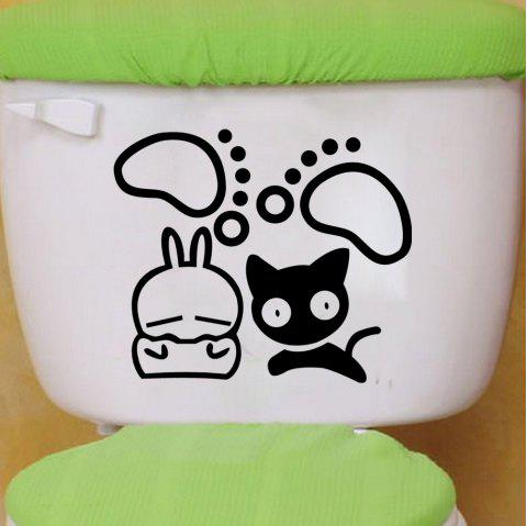 DSU Vivid Cat Toilet Switch Sticker Cartoon Switch Cover Protected Decal - BLACK 20 X 21.6CM