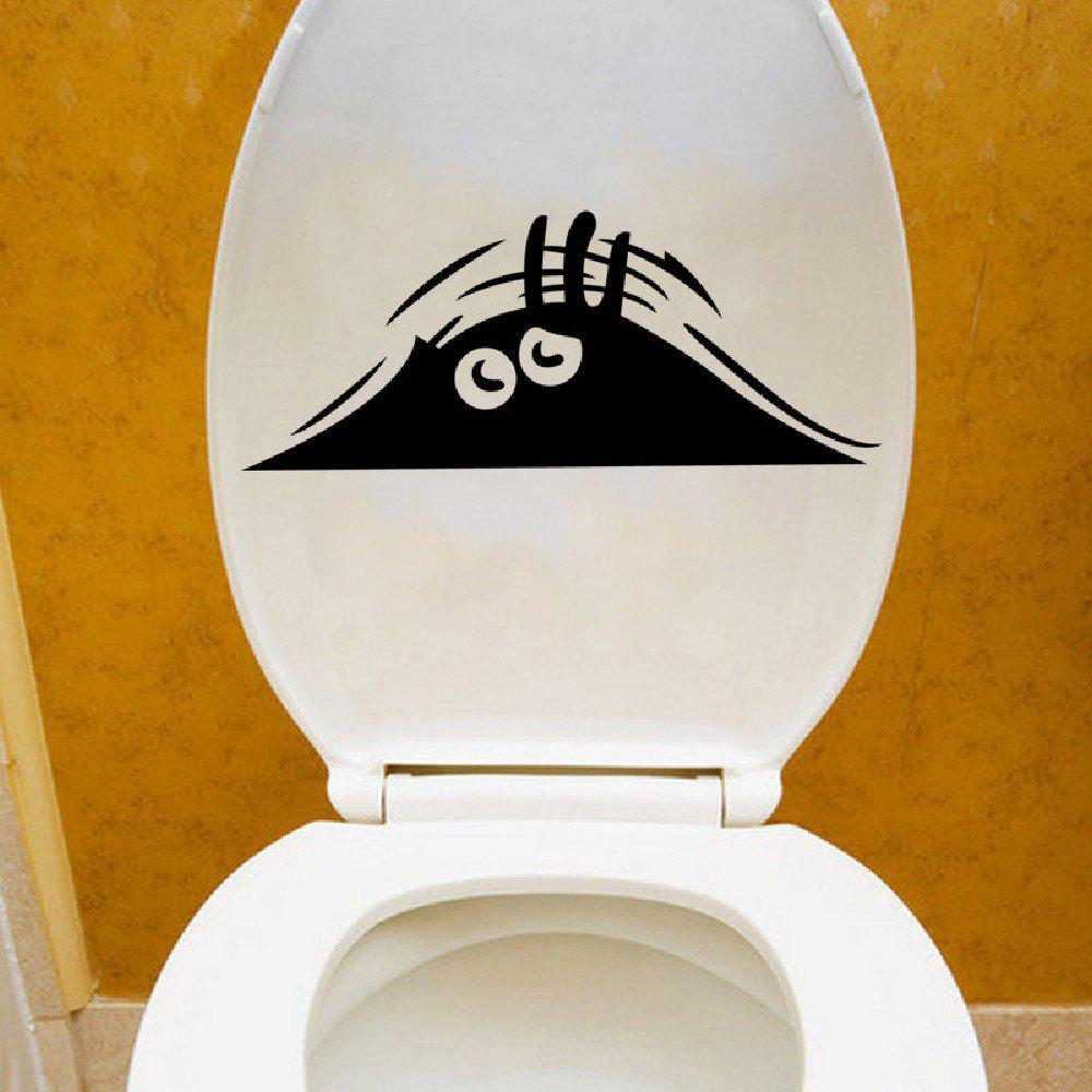 DSU Funny Toilet Bowl A Toilet Bathroom Peeping Eye Vinyl Wall Sticker - BLACK 14 X 34.5CM
