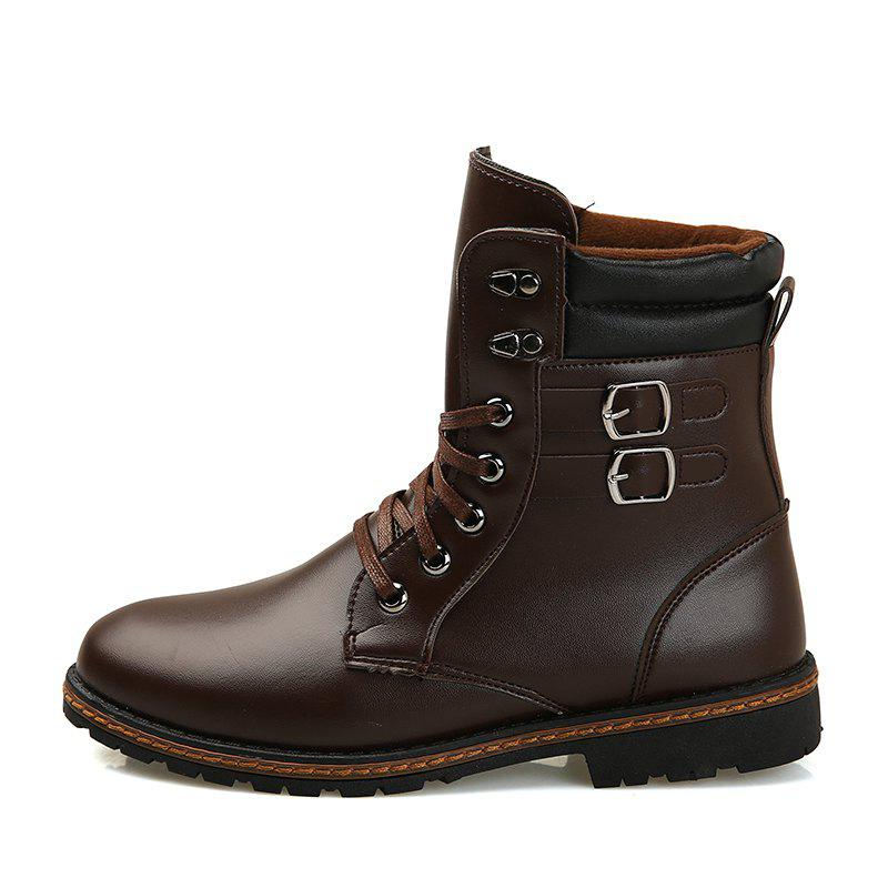Men 'S Shoes Fashion Martin Boots High Boots - BROWN 40