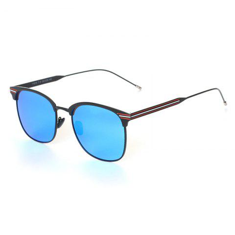TOMYE 9916 Metal Round Frame Polarized Sunglasses for Men and Women - BLACK/BLUE