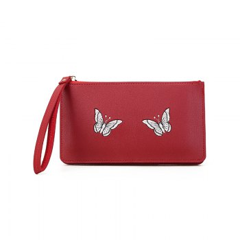 Ladies Fashion Casual  PU Leather Wallet for Women - RED RED