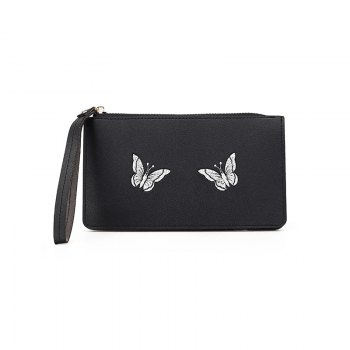 Ladies Fashion Casual  PU Leather Wallet for Women - BLACK BLACK