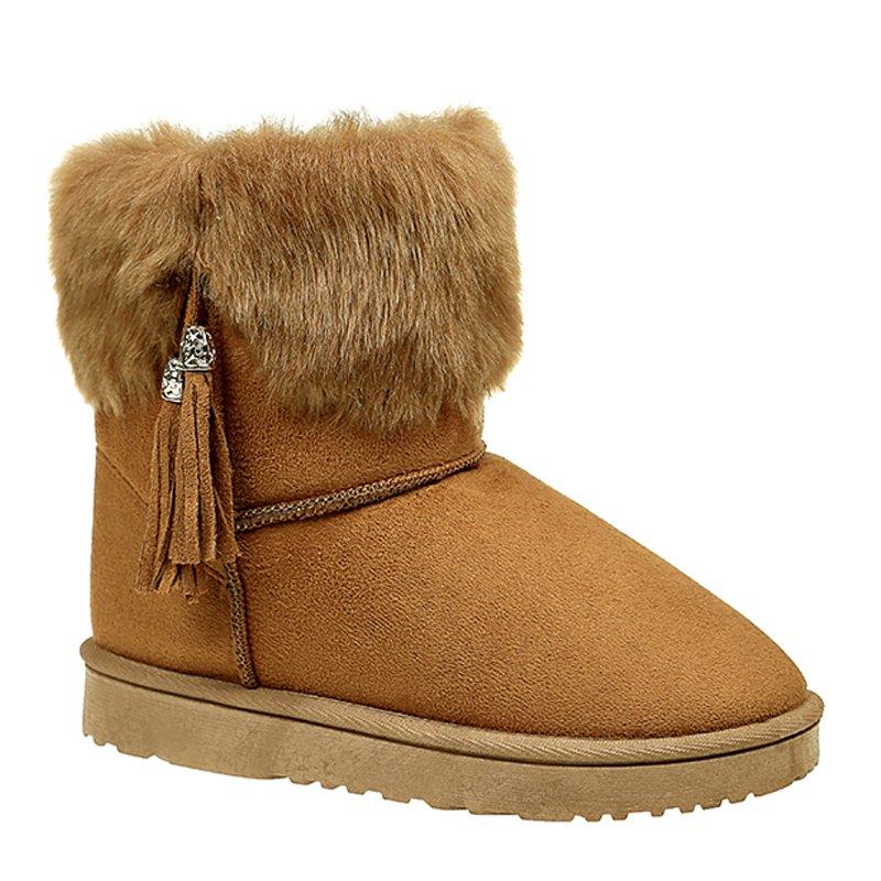 The New Winter Snow Boots with Warm Tassel - BROWN 38