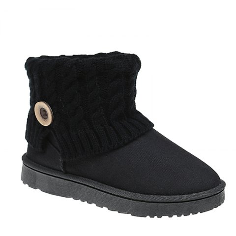 Anti-Skid Boots Female Winter Wool Frosted Short Thick Soled Shoes With Flat Tube Snow Cashmere Thermal Short Boots - BLACK 40