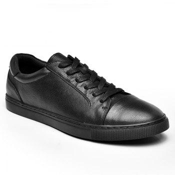 Men's Casual Leather Sports Shoes - BLACK 38