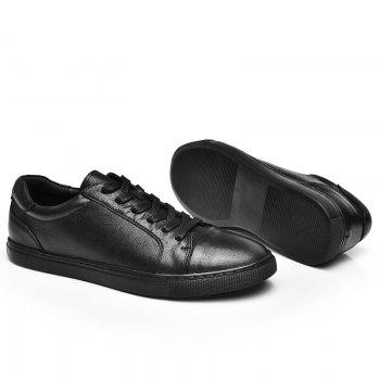 Men's Casual Leather Sports Shoes - BLACK 43