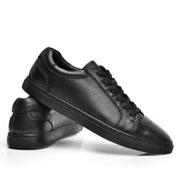 Men's Casual Leather Sports Shoes - BLACK 42
