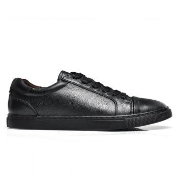 Men's Casual Leather Sports Shoes - BLACK 39