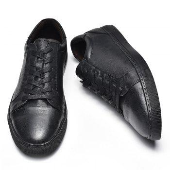 Men's Casual Leather Sports Shoes - BLACK 40