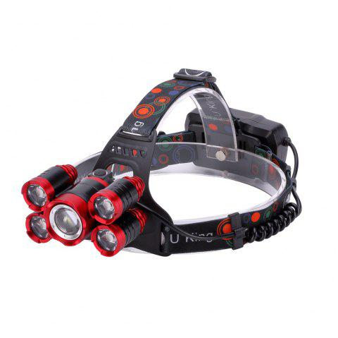 U`King Zq - X841 4000lm Lampe Torche Rechargeable 5-Led Pivotante Zoomable - NOIR/ROUGE