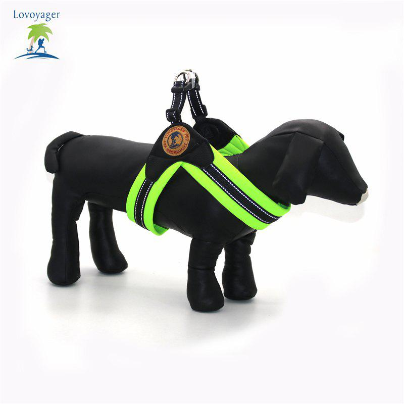 Lovoyager LVH16004 Reflective Small Large Dog Harness Portable Pet Dog Training Vest Collar with Bright Color S To L - GREEN L