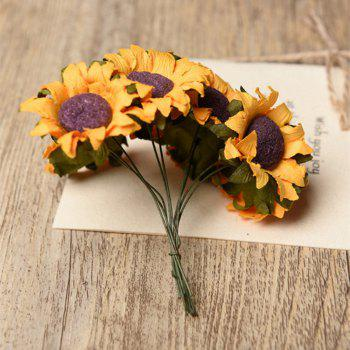 XM 10 Heads Mini Sunflower DIY Accessories Artificial Flowers 8CM - YELLOW YELLOW