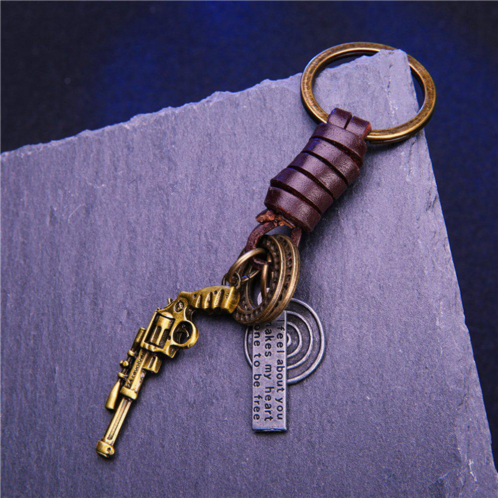 Men'S Key Ring Retro Style Vogue Woven Alloy Key Ring Accessory - BRONZED 1PC