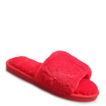 European Style Lady Slippers Warm Plush Autumn And Winter Indoor Home Cotton Slippers - RED RED