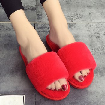European Style Lady Slippers Warm Plush Autumn And Winter Indoor Home Cotton Slippers - RED 40