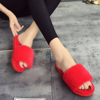 European Style Lady Slippers Warm Plush Autumn And Winter Indoor Home Cotton Slippers - RED 37