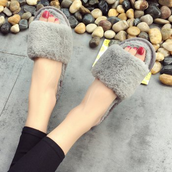 European Style Lady Slippers Warm Plush Autumn And Winter Indoor Home Cotton Slippers - OYSTER OYSTER
